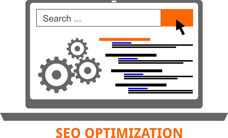 SEO Optimization mit Laptop Grafik